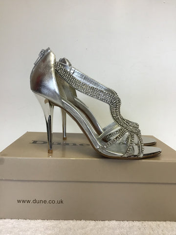 BRAND NEW DUNE DECADENCE SILVER DIAMANTÉ TRIM HEELED SANDALS SIZE 5/38