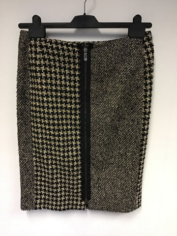 RIANI BLACK,BEIGE & WHITE WEAVE ZIP FRONT WOOL BLEND PENCIL SKIRT SIZE 12