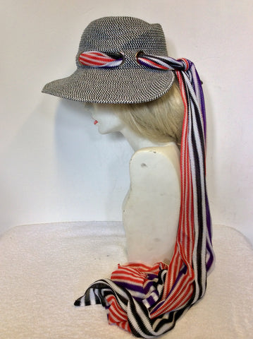 BRAND NEW MISSONI MARE BLACK & WHITE WEAVE SUN HAT WITH STRIPE SCARF