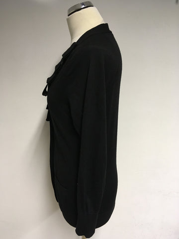JAEGER BLACK WOOL PLEATED TRIM V NECK CARDIGAN SIZE M
