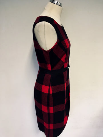 HOBBS RED & BLACK CHECK WOOL BLEND PENCIL DRESS SIZE 10