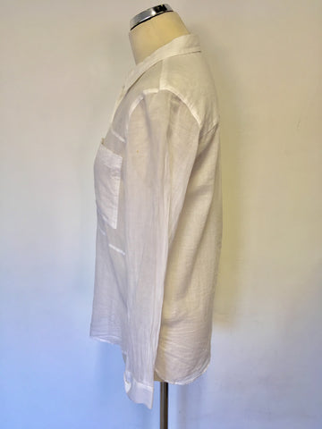 WHISTLES WHITE COTTON LONG SLEEVE COTTON SHIRT SIZE 8