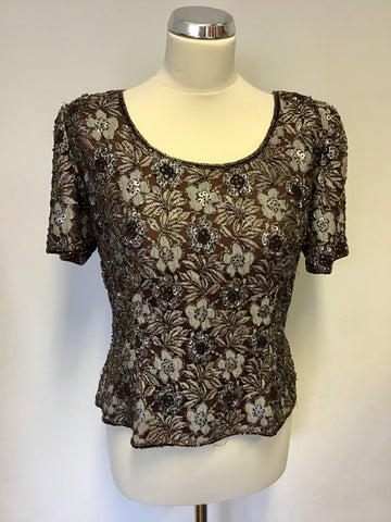 FRANK USHER BROWN BEADED & SEQUINED FLORAL SHORT SLEEVE TOP SIZE 14