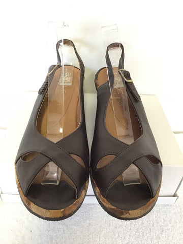 ROHDE COMFORT DARK BROWN LEATHER WEDGE HEEL SANDALS SIZE 8/42 G FIT
