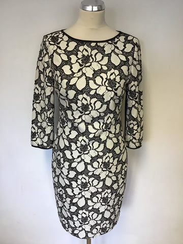 REISS ANABELLA BLACK & WHITE FLORAL LACE PENCIL DRESS SIZE 10