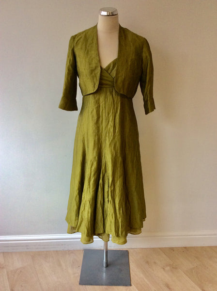 KALIKO GREEN STRAPPY DRESS & BOLERO JACKET SUIT SIZE 8