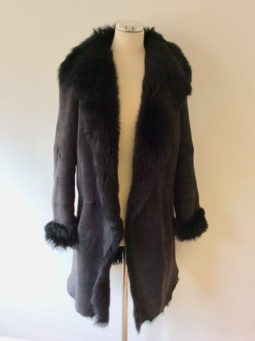 JOSEPH SLATE FUR LINED LAMBSKIN COAT SIZE 40 UK 12