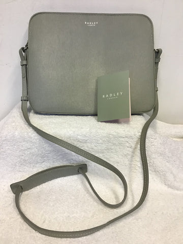 BRAND NEW RADLEY LIGHT GREY LEATHER MEDIUM ZIP TOP CROSS BODY BAG