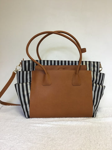 BRAND NEW RARE HENRI BENDEL MISS BENDEL TAN LEATHER & BROWN STRIPE BABY / TRAVEL BAG