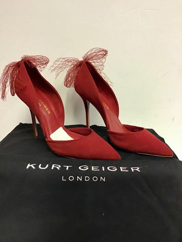 BRAND NEW KURT GEIGER RED SUEDE WITH NET BOW TRIM HEELS SIZE 7/40