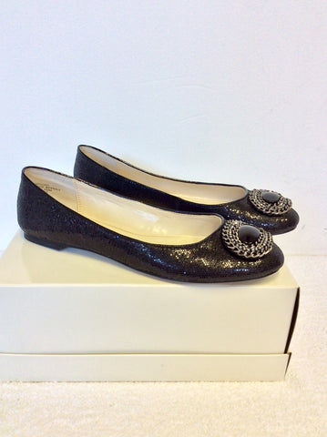 BRAND NEW ANNE KLEIN BLACK SPARKLE FLAT PUMPS SIZE UK 6/39