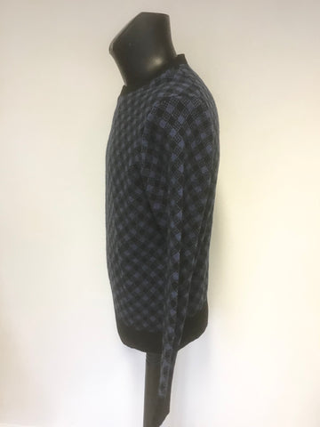 J CREW BLACK & BLUE CHECK 100% LAMBSWOOL ROUND NECK JUMPER SIZE M
