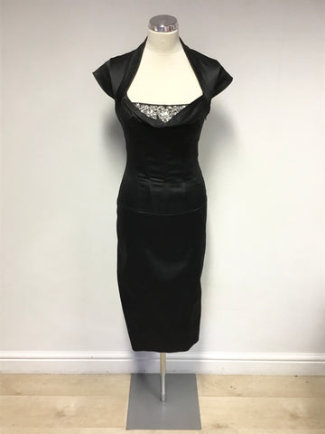 KAREN MILLEN BLACK DIAMANTÉ TRIM CORSET PENCIL DRESS SIZE 10