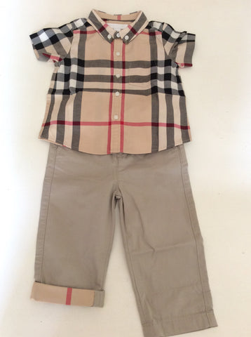 BURBERRY CHILDREN CHECK SHIRT & TROUSERS AGE 12 MONTHS