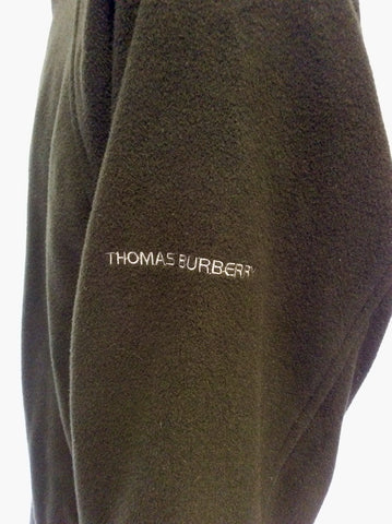 THOMAS BURBERRY DARK GREEN WOOL & CASHMERE ZIP UP JACKET SIZE XL