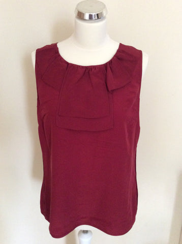 TED BAKER DEEP RED SILK PLEATED TRIM SLEEVELESS TOP SIZE 4 UK 14