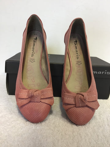 BRAND NEW TAMARIS PINK LEATHER BOW TRIM WEDGE HEELS SIZE 7.5/41