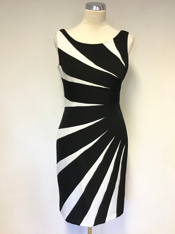 ADRIANNA PAPELL BLACK & WHITE SLEEVELESS PENCIL DRESS SIZE 8/10