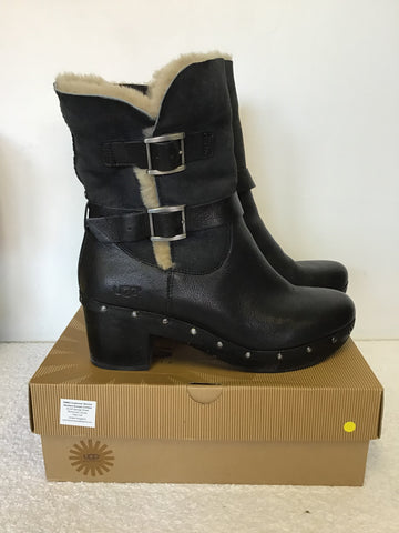 UGG BLACK LEATHER BREA CLOG BOOTS SIZE 7.5/41
