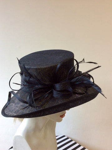 BRAND NEW MAX & ELLIE NAVY BLUE COIL & FEATHER TRIM  FORMAL HAT