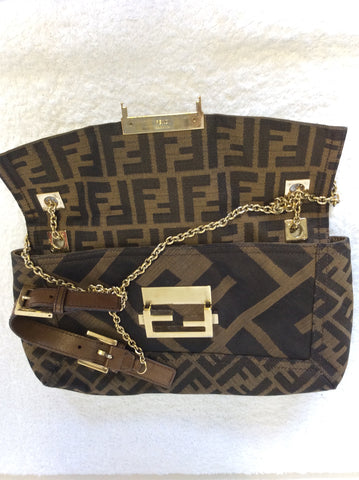 FENDI MALVA BROWN CLOTH & LEATHER TRIM GOLD CHAIN SHOULDER STRAP BAGUETTE