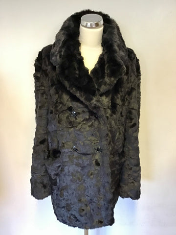 FRENCH CONNECTION BLACK FAUX FUR DOUBLE BREASTED COAT SIZE 14