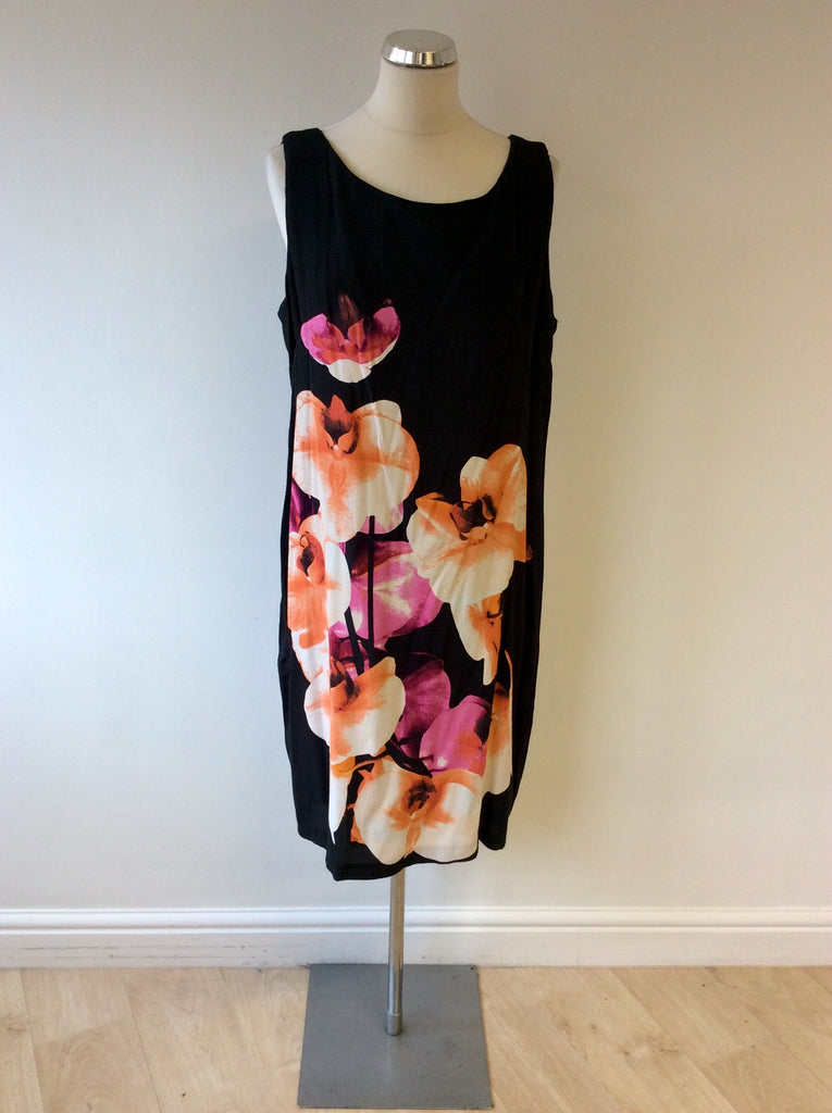 Brand New Pomodoro Black Orchid Print Shift Dress Size 20 Whispers