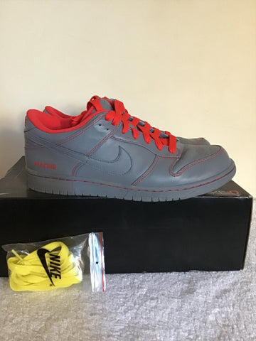 NIKE ID GREY & NEON RED LACE UP PERSONALISED TRAINERS SIZE 9/44