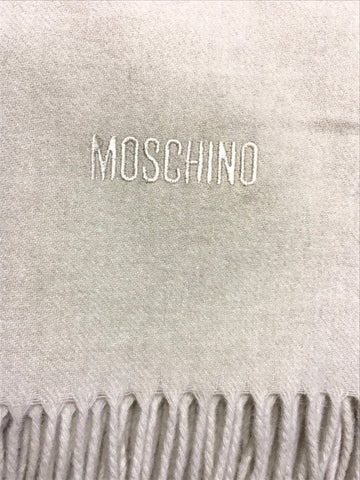 MOSCHINO BEIGE 100% WOOL WRAP/SHAWL WITH FRINGING