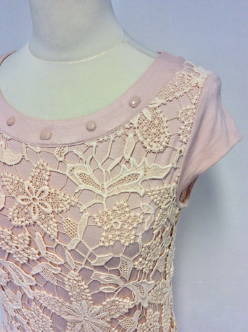 AIRFIELD PALE PINK LACE BEADED NECKLINE DRESS SIZE UK 8/10