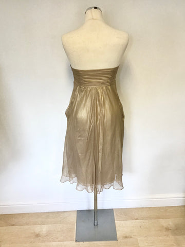 MONSOON PALE GOLD SILK STRAPLESS DRESS SIZE 10