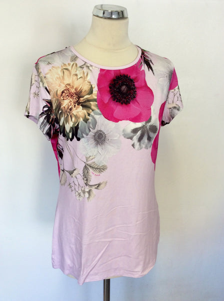 BRAND NEW TED BAKER PINK NEON POPPY PRINT FITTED T SHIRT SIZE 4 UK 14/16