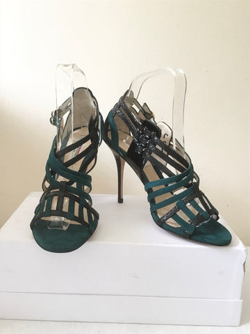 BRAND NEW LK BENNETT DEBUT DARK GREEN & BLACK SUEDE & LEATHER STRAP SANDALS SIZE 4/37