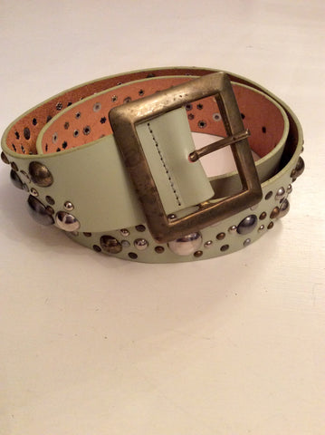 ALL SAINTS PALE GREEN METALLIC STUDDED LEATHER BELT SIZE L