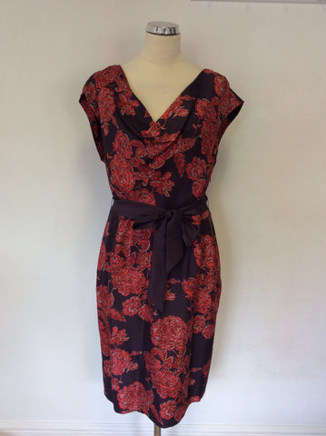 ALEX & CO DARK GREY & RED FLORAL PRINT SILK DRESS SIZE 16