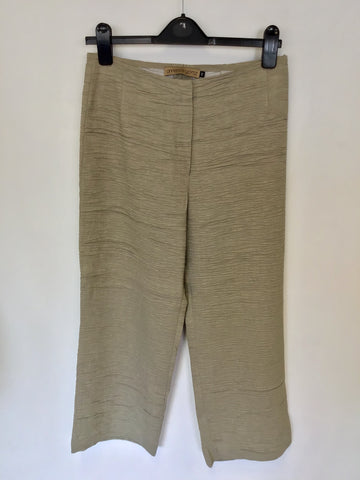 ANNETTE GORTZ BEIGE LINEN BLEND CRINKLE CROP TROUSERS SIZE 40 UK 12
