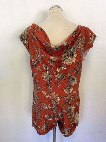 JOULES BOUTIQUE TERRACOTTA FLORAL PRINT SILK & LINEN PLAYSUIT SIZE 14
