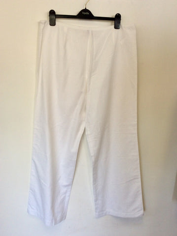 BRAND NEW OLSEN VERA WHITE LINEN & COTTON TROUSERS SIZE 20