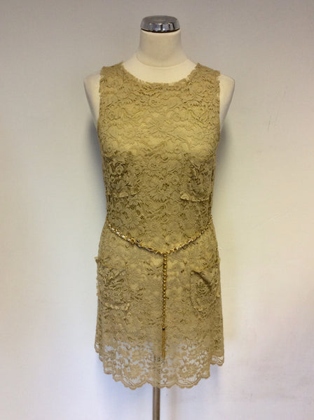DOLCE & GABBANA CAMEL BEIGE LACE & SILK CHAIN BELT DRESS SIZE 38 UK 6/8