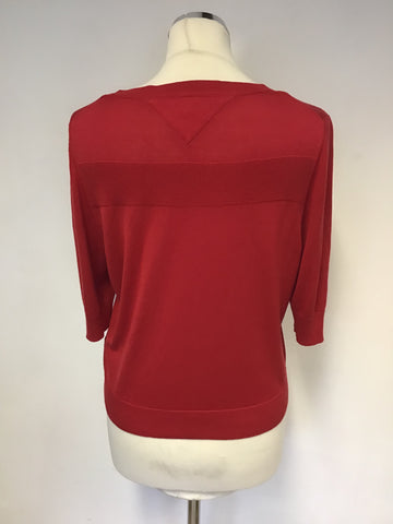 TOMMY HILFIGER RED SILK BLEND SHORT SLEEVE CARDIGAN SIZE L
