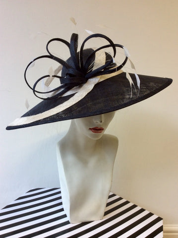 BRAND NEW MADDOX BLACK & NATURAL TRIM WIDE BRIM FORMAL HAT