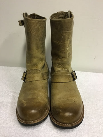 FRYE VERONICA CAMEL LEATHER BUCKLE TRIMS DISTRESSED LOOK BOOTS SIZE 7.5/41