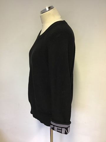 KENZO BLACK COTTON & WOOL BLEND JUMPER SIZE M