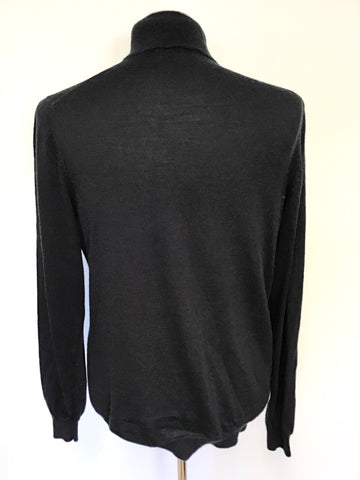 VIYELLA DARK BLUE MERINO WOOL ZIP NECK JUMPER SIZE L