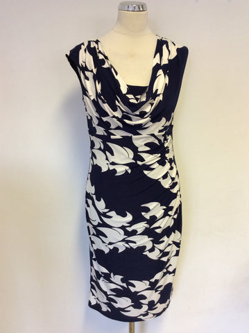 PHASE EIGHT NAVY BLUE & WHITE BIRD PRINT STRETCH JERSEY DRESS SIZE 14