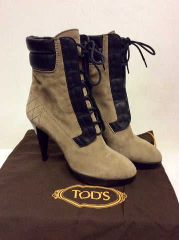NEW TODS BROWN SUEDE & LEATHER LACE UP ANKLE BOOTS SIZE 3.5/36