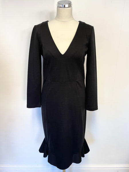 PATRIZIA PEPE BLACK V NECKLINE LONG SLEEVE FLUTED HEM PENCIL DRESS SIZE 44 UK 12/14