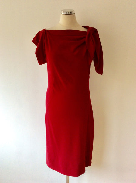 PRADA DEEP RED OCCASION DRESS WITH TIE FEATURE SIZE 46 UK 14