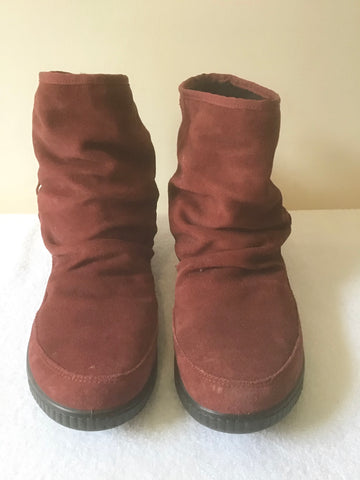 HOTTER DEEP RED / WINE SUEDE TASSEL TRIM SUEDE ANKLE BOOTS SIZE 5.5/38.5