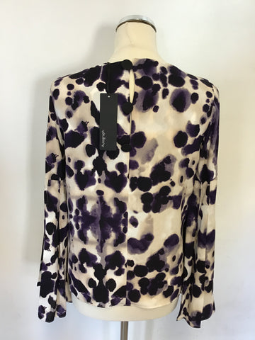 MARKS & SPENCER PURPLE MIX PLEATED LONG SLEEVE TOP SIZE 8